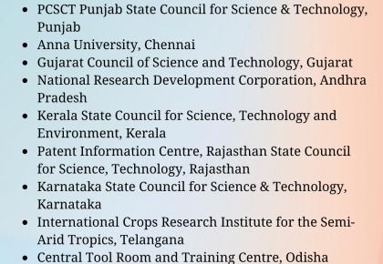 Pcsct Punjab State Council For Science & Technology, Punjab Anna University, Chennai Gujarat Council Of Science And Technology, Gujarat National Research Development Corporation, Andhra Pradesh Kerala State Cou