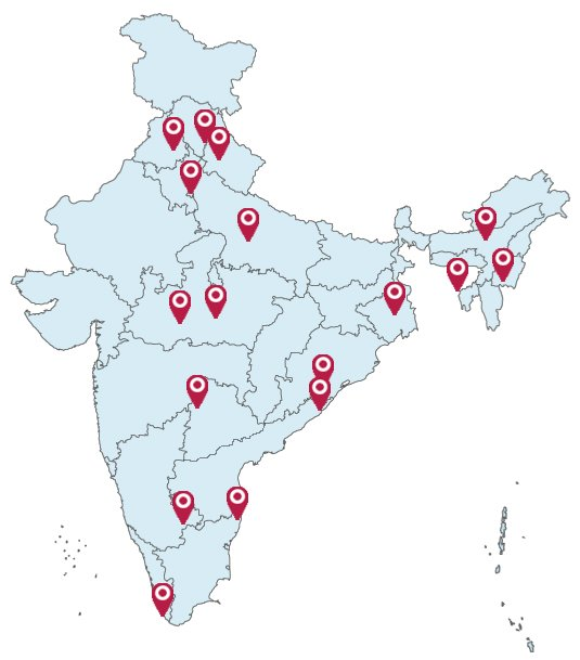 india map red indicate state