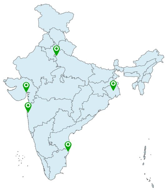 india green indicate map